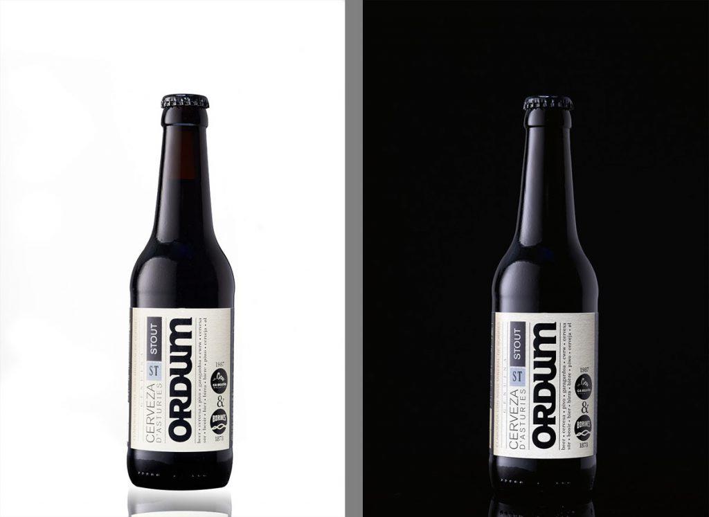 Fotografía de producto cerveza artesana sobre fondo blanco y sobre fondo negro
